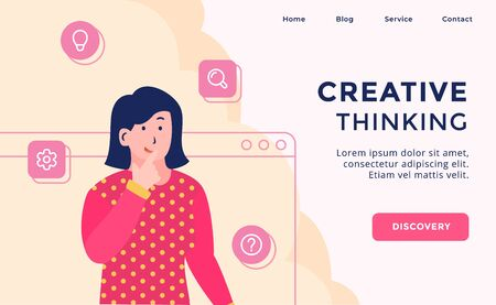 Creative thinking campaign for web website template page landing home homepage with modern flat cartoon style vector design Illustration