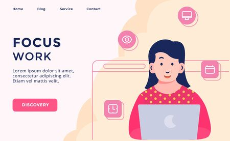 Focus work creative process campaign for web website template page landing home homepage with modern flat cartoon style vector design
