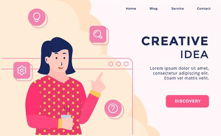 Creative Idea campaign for web website template page landing home homepage with modern flat cartoon style vector design