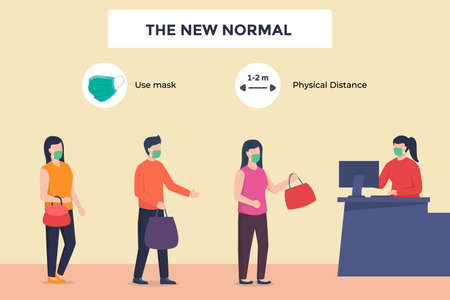 Customer visitor cashier buy payment in store maintain physical distance wearing mask in new normal era after the corona virus pandemic flat cartoon style vector design Vettoriali