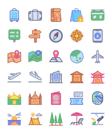 Travel icon set traffic sign diving camping airplane passport beach plane compass museum sea tree with full color style flat vector design illustration.
