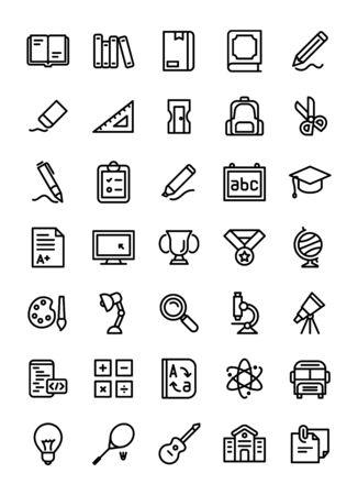 Education icon set line style white isolated modern flat design vector illustration