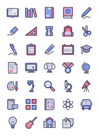education icon set outline style filled color modern flat design vector illustration Stock fotó - 150620974
