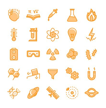 science icon set with yellow color white background isolated modern flat design vector illustration Illustration