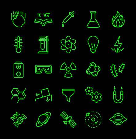 Science icon set green line black isolated modern flat design vector illustration.