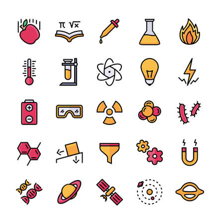 Science icon set outline style filled color modern flat design vector illustration Vectores