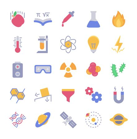 Science icon set style full color modern flat design vector illustration