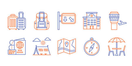 Travel icon set backpack traffic sign hotel airport flight passport compass camping cafe with dual color line style flat design vector illustration.