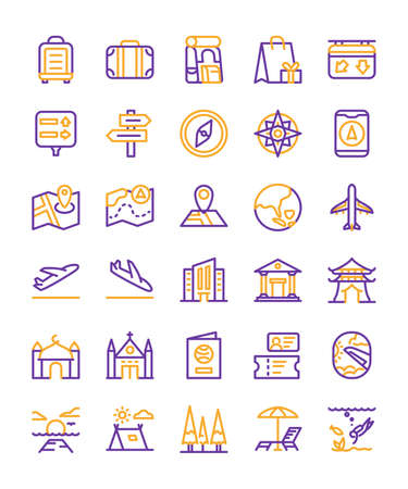 Travel icon set suitcase airplane hotel beach restaurant backpack sunset summer hiking with outline style flat design vector illustration.