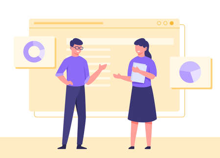 Man wearing glasses discussion woman holding papers background diagram pie chart with flat cartoon style vector design