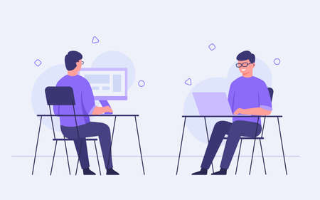 Guy character sit chair work use devices computer laptop on desk with flat cartoon style vector design