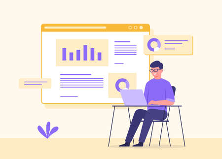 Man wearing glasses sit chair work on laptop background graph data on screen with flat cartoon style vector design. Stock Illustratie