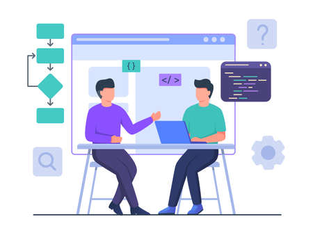 Man programmer collaboration with partner work on laptop create project design website with flat cartoon style vector design.