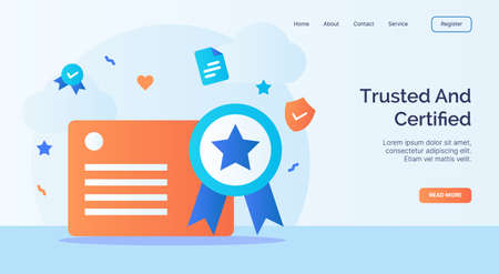 Trusted and certified license certificate icon campaign for web website home page landing template with cartoon style vector design