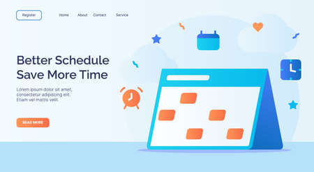 Better schedule save more time calendar icon campaign for web website home page landing template with cartoon style vector design