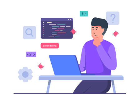 Guy developer character thinking work on laptop create debugging code with flat cartoon style vector design