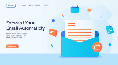 Forward your email automaticly open email icon campaign for web website home page landing template with cartoon style vector design