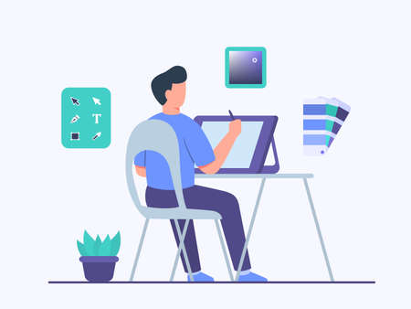 Guy Illustrator character sitting chair work on tablet create design illustration use tool application program with flat cartoon style vector design.
