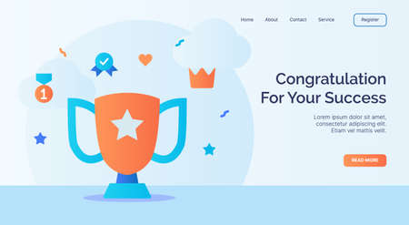 Congratulation for your success trophy winner icon campaign for web website home page landing template with cartoon style vector design