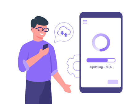 Guy character wear glasses holding smart phone update process mobile app connected to cloud with flat cartoon style vector design Stock Illustratie