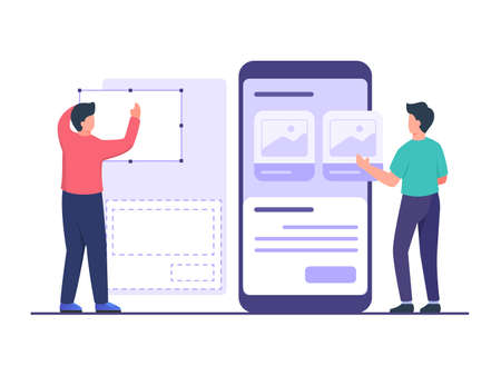 UI designer create wireframe using tool in collaboration with developer design mobile apps on large smartphone with flat cartoon style vector design