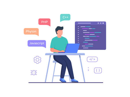 Software engineer sit in chair working on laptop use programming language code with flat cartoon style vector design. Stock Illustratie