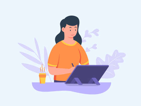 Girl illustrator character work on tablet holding pen designing illustrated image with flat cartoon style vector design