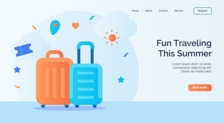 Fun traveling this summer suitcase icon campaign for web website home homepage landing template banner with cartoon flat style vector design