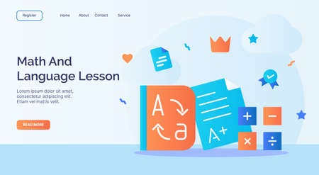 Math and language lesson dictionary calculate icon campaign for web website home homepage landing template banner with cartoon flat style vector design