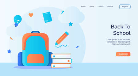 Back to school backpack pencil book icon campaign for web website home homepage landing template banner with cartoon flat style vector design Illustration
