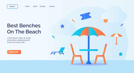 Best benches on the beach umbrella cafe icon campaign for web website home homepage landing template banner with cartoon flat style vector design