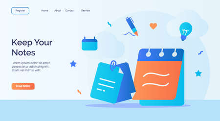Keep your notes icon campaign for web website home homepage landing template banner with cartoon flat style. Vecteurs