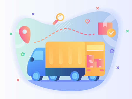 Shipping truck carry box package tracking location with flat style vector.