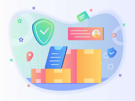Package delivery concept box address location shield with flat style. Illustration