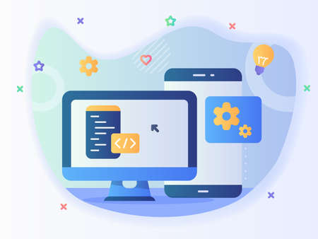 technology engineer app website program development software concept with code and computer with modern icon style 向量圖像