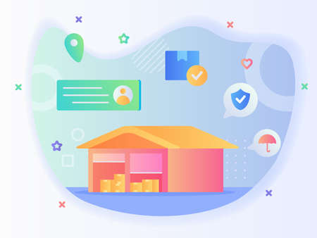 Open rolling door warehouse building background of box package address location point shield umbrella with flat style Illusztráció
