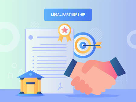Hand shake character background of agreement letter court target goal certified legal partnership concept with flat style. 向量圖像