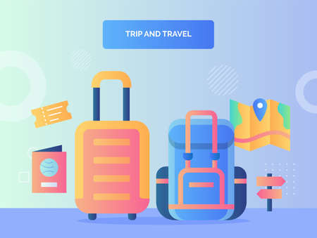 rip and travel concept suitcase backpack backgroound of passport ticket map brochure signpost with flat style Vettoriali