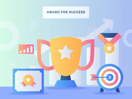 Award for success concept certificate arrow target in front trophy background of medal chart with flat style