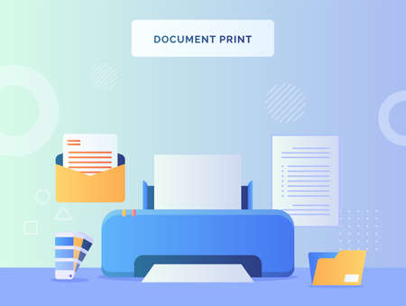 Document print on machine background of open mail file folder pallet color text paper with flat style.