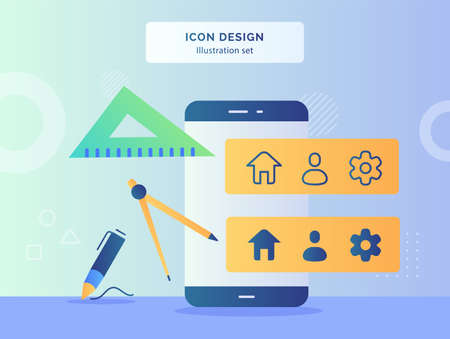 Icon design concept compass drawing ruler pen in front smart phone with house people gear icon on monitor flat style. Illustration