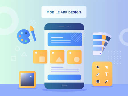 Mobile app design concept shape on smartphone screen background tools design color paintbrush pallet with flat style Ilustração