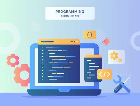 Programming illustration set coding language program on display monitor laptop background of mechanic symbol wrench screwdriver gear bug with flat style. Vecteurs