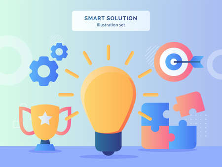 mart solution illustration set bright bulb background of puzzle trophy gear target goal with flat style. Vetores