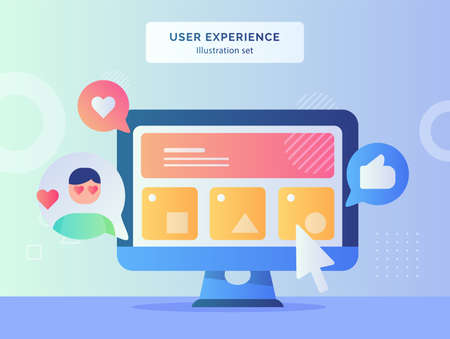 User experience illustration set wireframe ui on computer screen background of feedback like heart with flat style Vector Illustratie