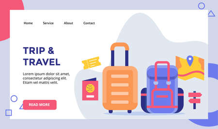 trip and travel suitcase backpack concept campaign for web website home homepage landing page template banner with flat style