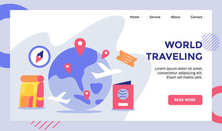 World traveling pointer location spread on earth campaign for web website home homepage landing page template banner with flat style.