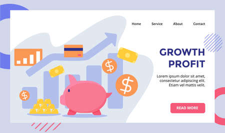 Growth profit Piggy bank background of gold money dollar campaign for web website home homepage landing page template banner with flat style