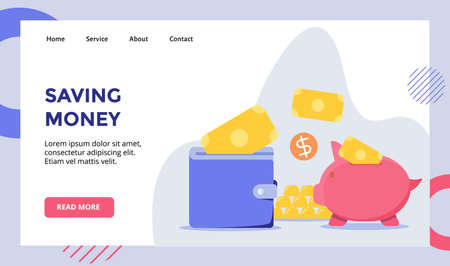 Saving money put money in wallet piggy bank campaign for web website home homepage landing page template banner with flat style