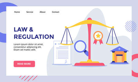 Law and regulation scale balance campaign for web website home homepage landing page template banner with modern flat style